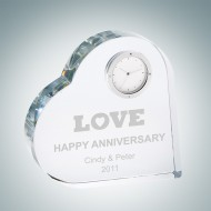 Crystal Heart Keepsake Clock