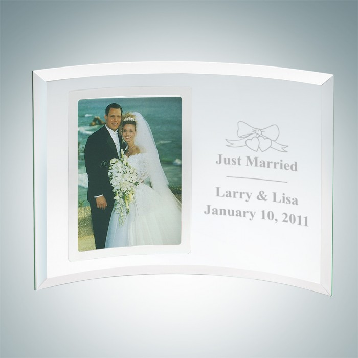 Frames & Plaques Curved Vertical Jade Glass Silver Photo Frame ...