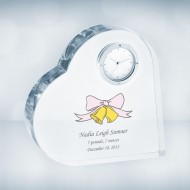 Color Imprinted Crystal Heart Clock