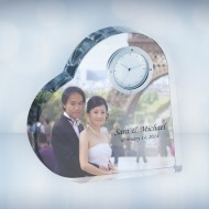 UV Color Imprinted Crystal Heart Photo Clock