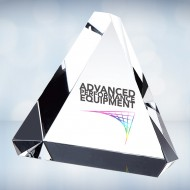 UV Color Imprinted Beveled Triangle Paperweight